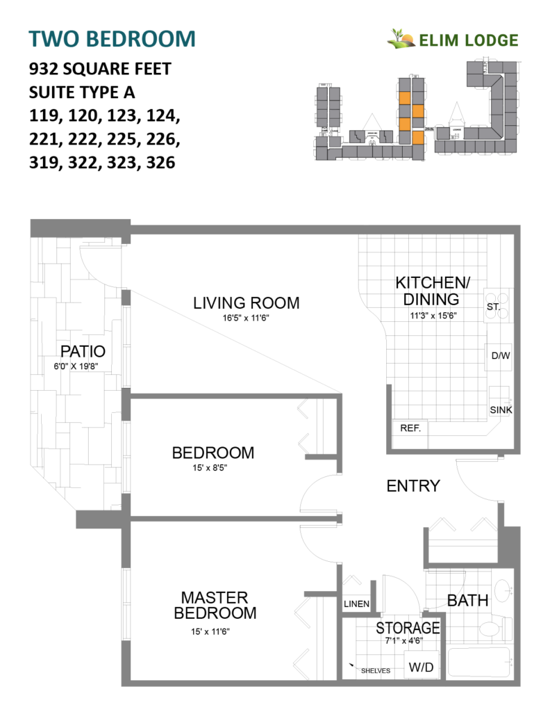 Elim Lodge Rooms 119, 120, 123, 124, 221, 222, 225, 226, 319, 322, 323, 326