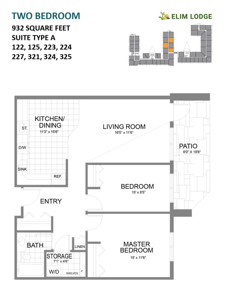 Elim Lodge Rooms 122, 125, 223, 224, 227, 321, 324, 325
