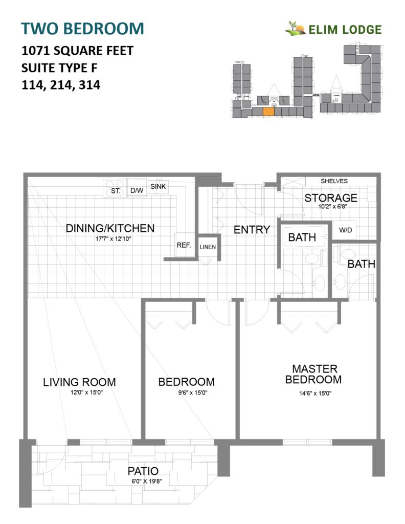 Elim Lodge Rooms 114, 214, 314