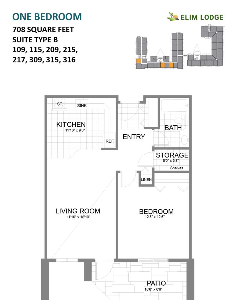 Elim Lodge Rooms 109, 115, 209, 215, 217, 309, 315, 316