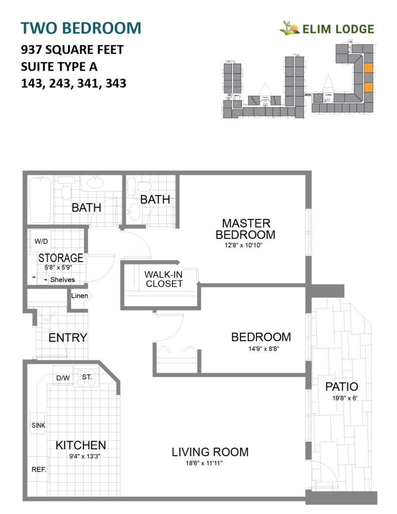 Elim Lodge Rooms 143, 243, 341, 343i
