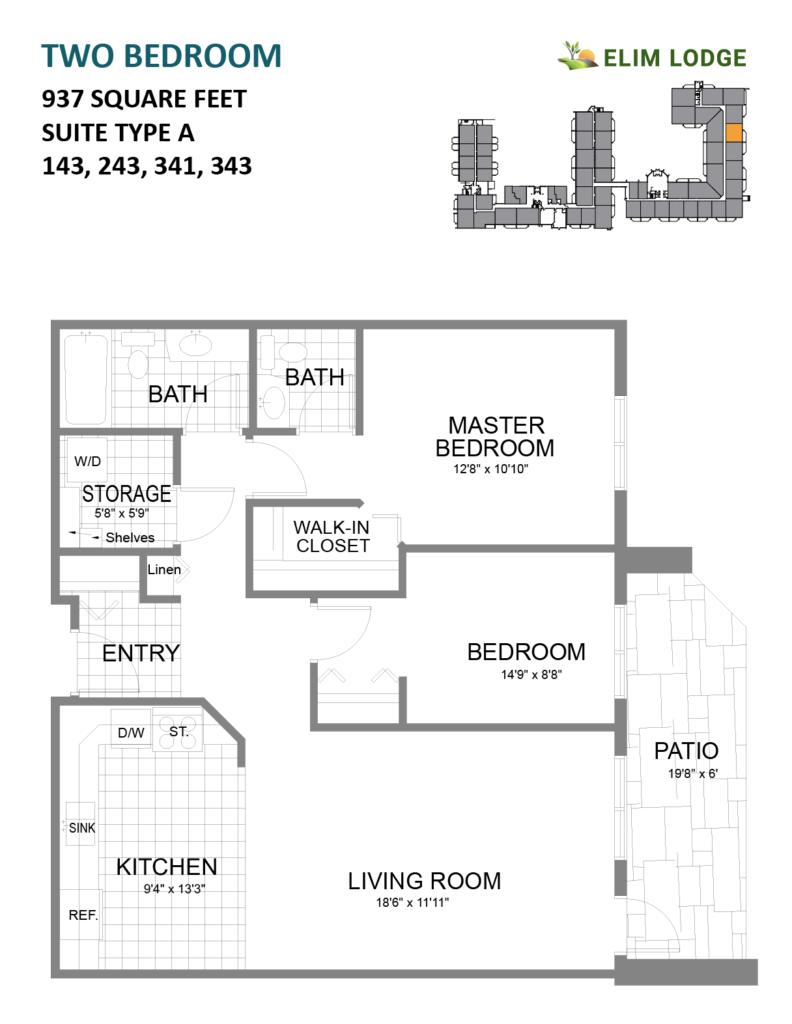 Elim Lodge Rooms 143, 243, 341, 343
