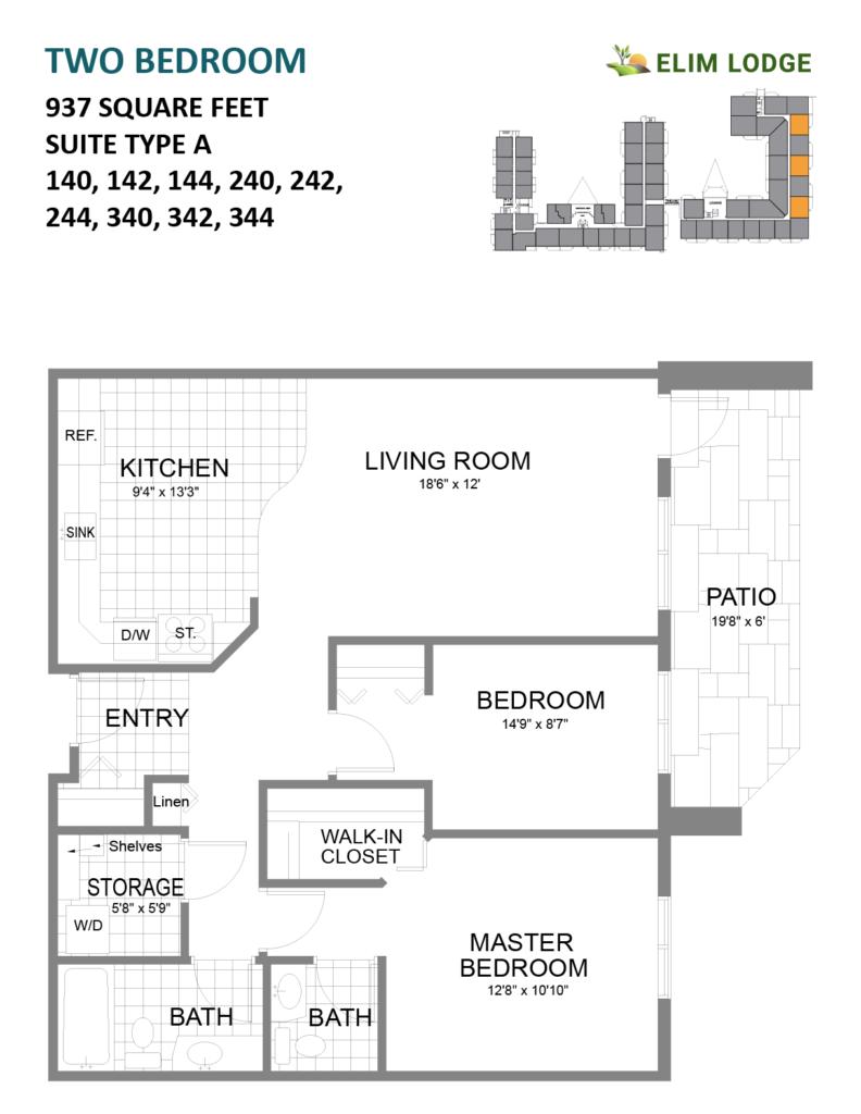 Elim Lodge Rooms 140, 142, 144, 240, 242, 244, 340, 342, 344
