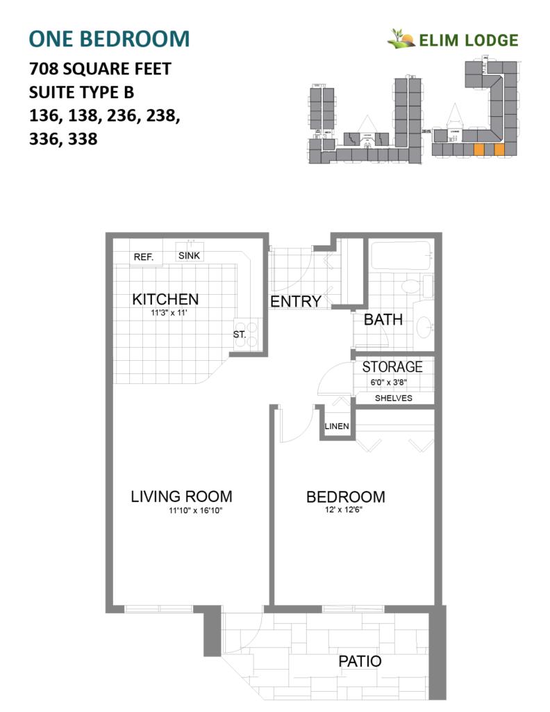 Elim Lodge Senior Suites 136-138-236-238-336-338-